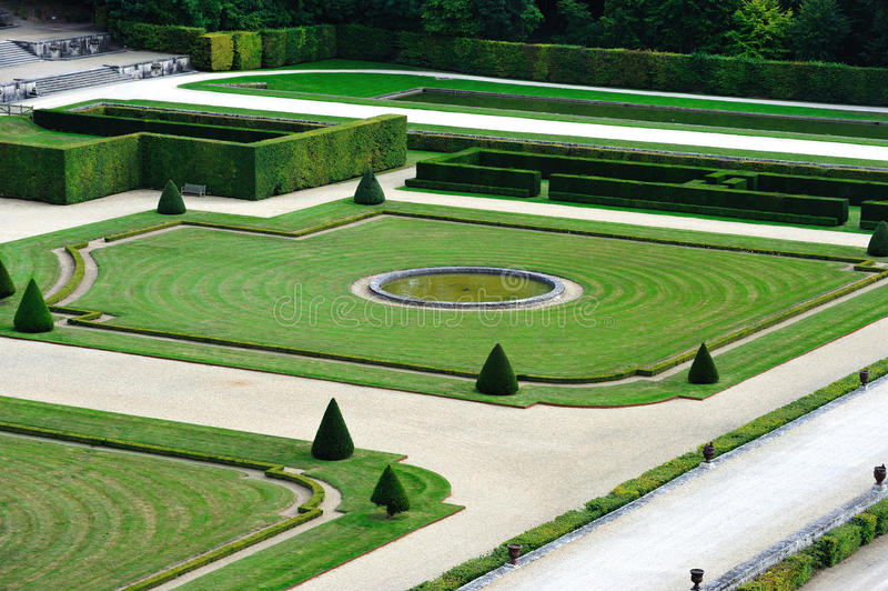 Vaux-le-Vicomte. France - September 9, 2008 - The Chateau de  is a baroque French chateau located in Maincy. French style garden by the landscape architect stock photos
