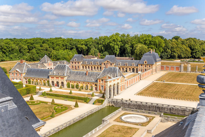 Vaux-le-Vicomte, France. View a fragment of the manor. Vaux-le-Vicomte - classic French manor-palace of of the XVII century, situated 55 km south-east of Paris royalty free stock photos