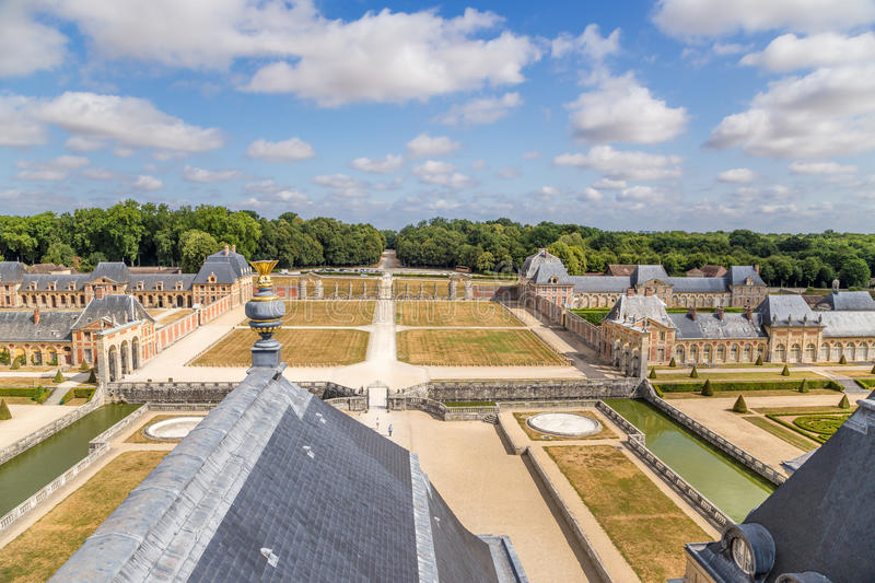 Vaux-le-Vicomte, France. View manor. Vaux-le-Vicomte - classic French manor-palace of of the XVII century, situated 55 km south-east of Paris. It was built in stock photos