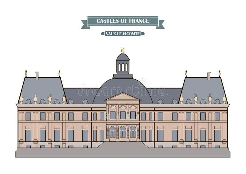 Vaux-le-Vicomte, Frankrijk vector illustratie