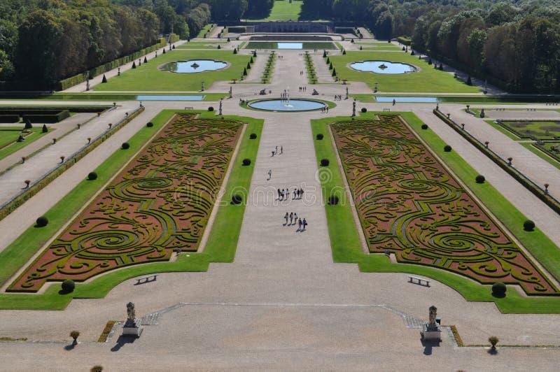 Vaux Le Vicomte garden. Travel across Europe, Château de Vaux-le-Vicomte, top view of the castle on the garden / park, France stock photos