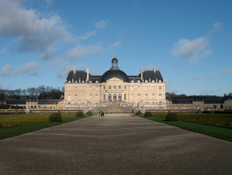 Vaux le Vicomte Palace near Paris in France. Vaux le Vicomte Palace at Melun near Paris in France. The Gardens of the Palace served as a templace for Versailles stock photography