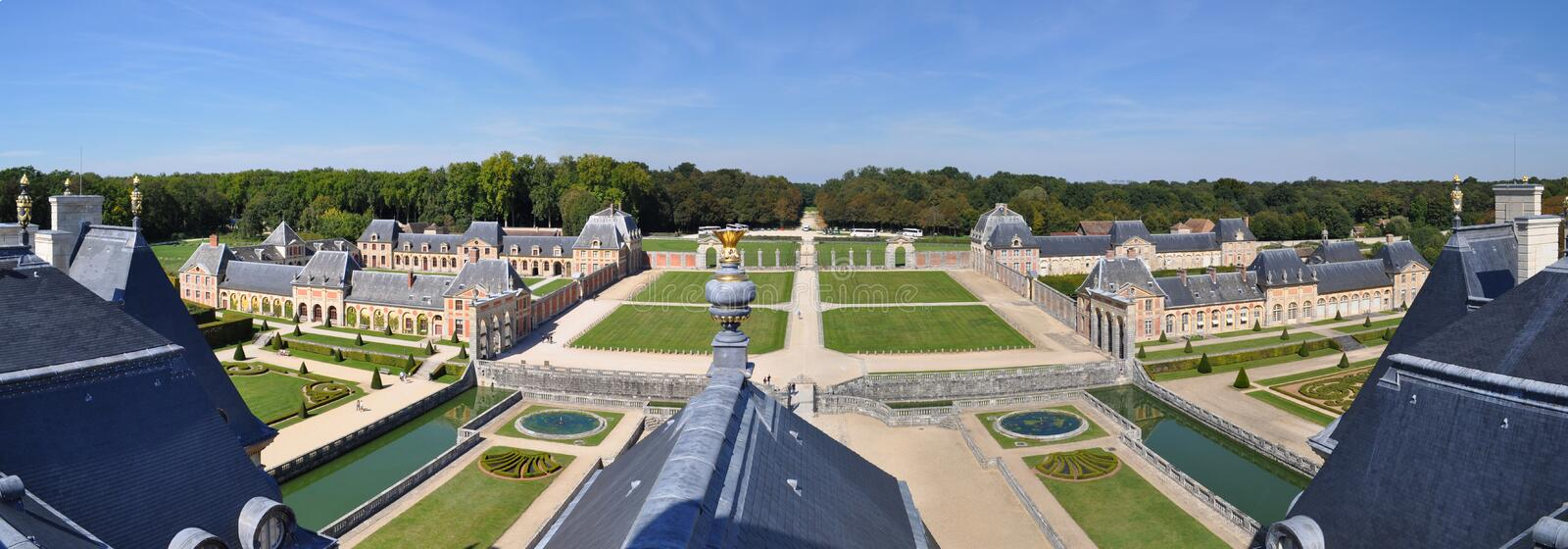 Vaux Le Vicomte. Travel across Europe, Château de Vaux-le-Vicomte, panoramic view from the top of the castle, France stock images