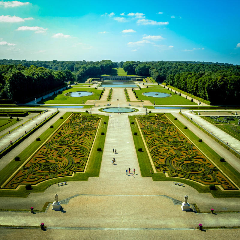 Vaux le Vicomte. View from the top of Vaux le vicomte`s castle royalty free stock photography