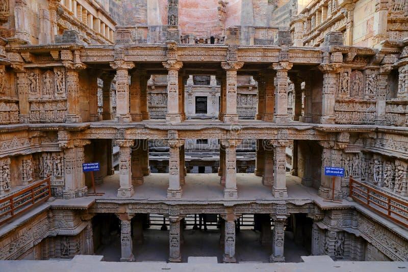 Vav del ki de Rani, un stepwell en los bancos del río de Saraswati en Patan Un sitio del patrimonio mundial de la UNESCO en la In fotos de archivo