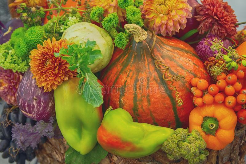 Vavariety of vegetables in the basket on the market. Stillife stock photography