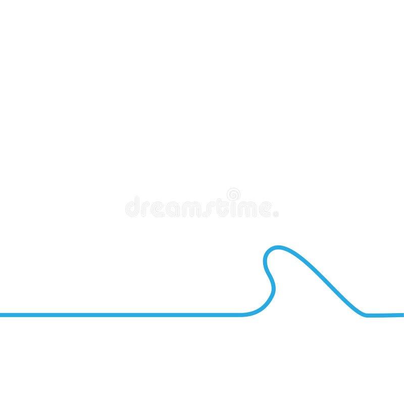 Vawe azul do mar no fundo do whtie ilustração do vetor