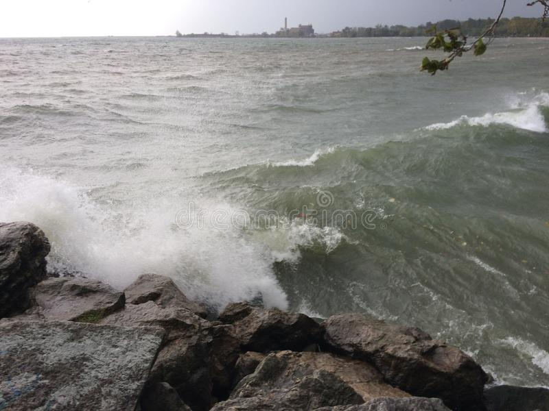 Storm on the Lake Ontario in Toronto, Ontario, Canada. Fall2017 stock photo