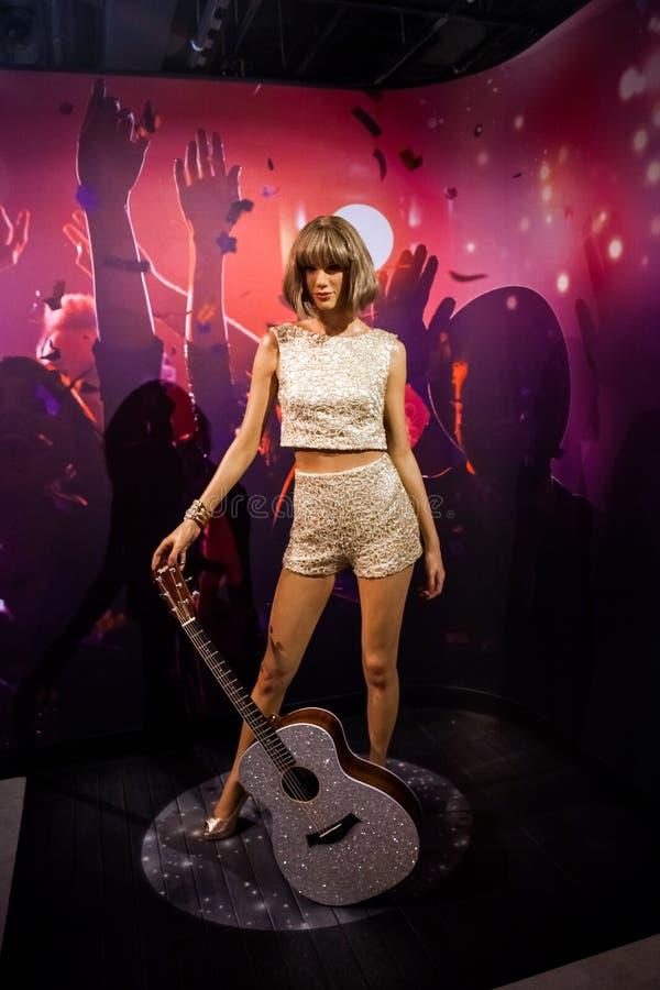 Vaxdiagram av den amerikanska sångaren Taylor Alison Swift i museum för madam Tussauds Wax i Amsterdam, Nederländerna fotografering för bildbyråer