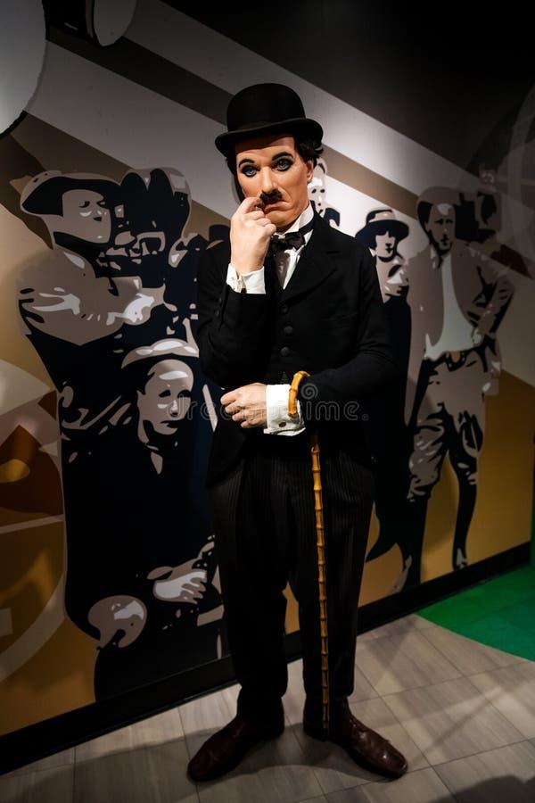 Vaxdiagram av Sir Charles Spencer Charlie Chaplin, engelsk komisk skådespelare i museum för madam Tussauds Wax i Amsterdam royaltyfria foton