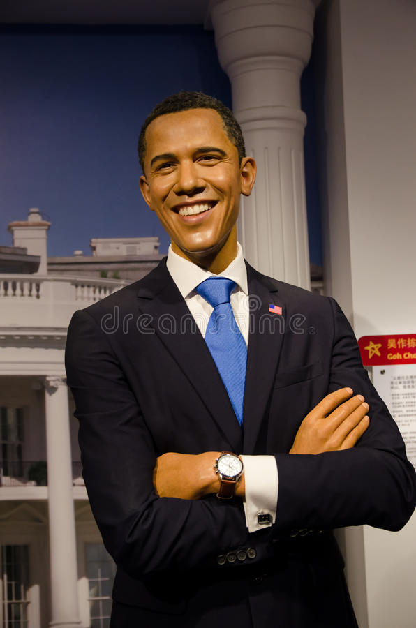 Vaxdiagramet av Barack Obama i madamen Tussauds Singapore royaltyfria foton