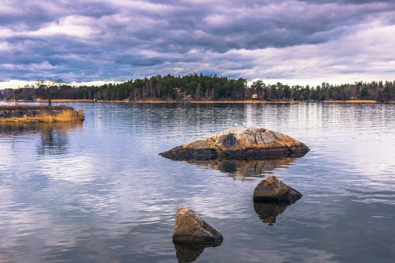 Vaxholm - 2017年4月07日:斯德哥尔摩群岛在Vaxholm, Swe 免版税图库摄影