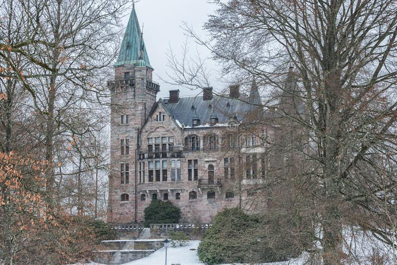Vaxjo Sverige - Februari, 2018 Gammal scandinavianTeleborg slott i Sverige royaltyfria foton