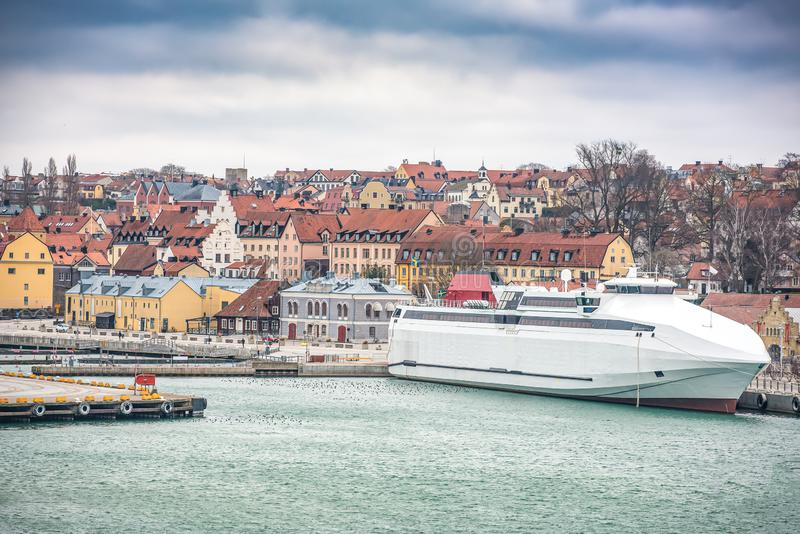 VISBY, SWEDEN - April 2018: City overview over the pier in Visby. Gotland, Sweden stock image