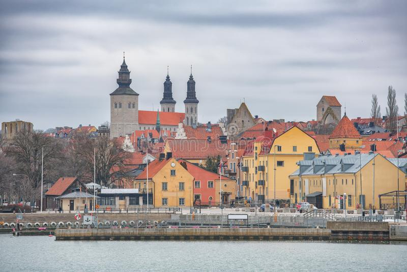 VISBY, SWEDEN - April 2018: City overview over the pier in Visby. Gotland, Sweden royalty free stock photography