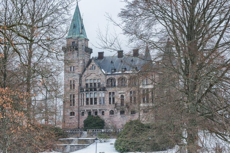 Vaxjo, Zweden - Februari, 2018 Oud Skandinavisch Teleborg-kasteel in Zweden royalty-vrije stock foto's