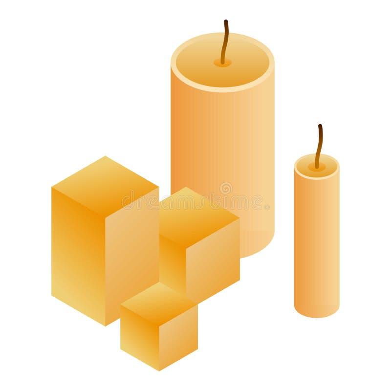 Vaxstearinljussymbol, isometrisk stil stock illustrationer