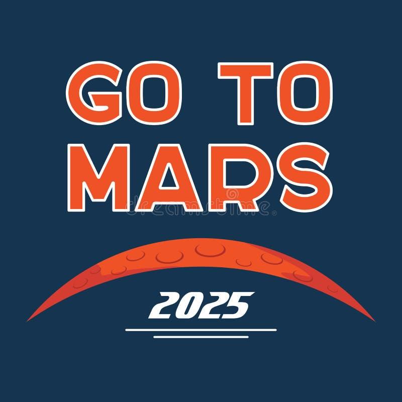 Vaya al cartel de la historieta del vector de Marte stock de ilustración