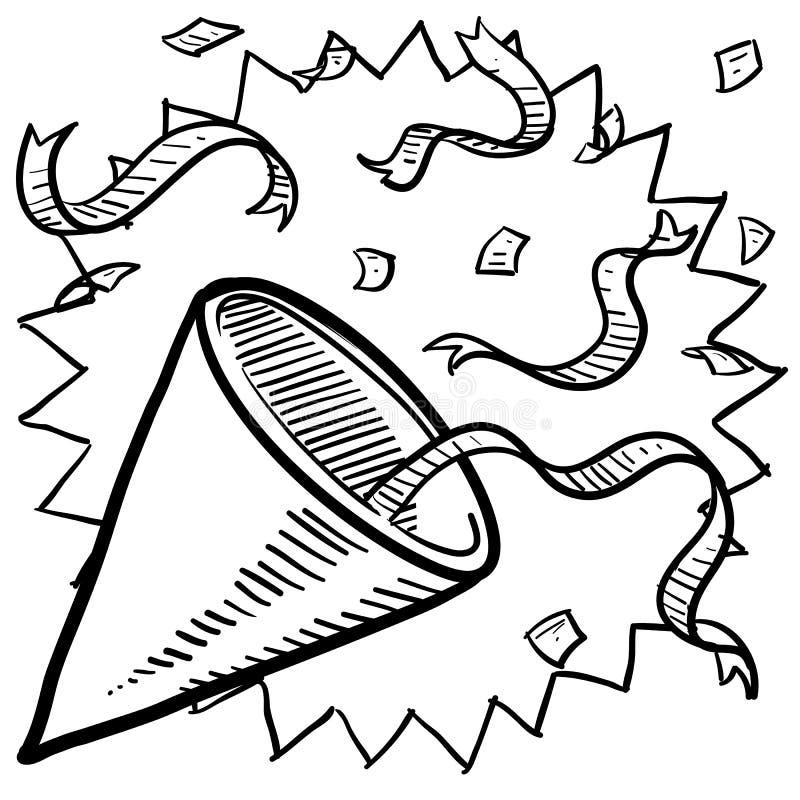 Vaya de fiesta el sombrero con bosquejo del confeti stock de ilustración