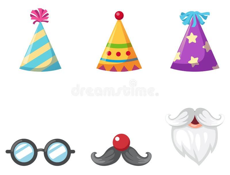 Vaya de fiesta el sombrero y los vidrios y ejemplo aislado bigote del vector libre illustration