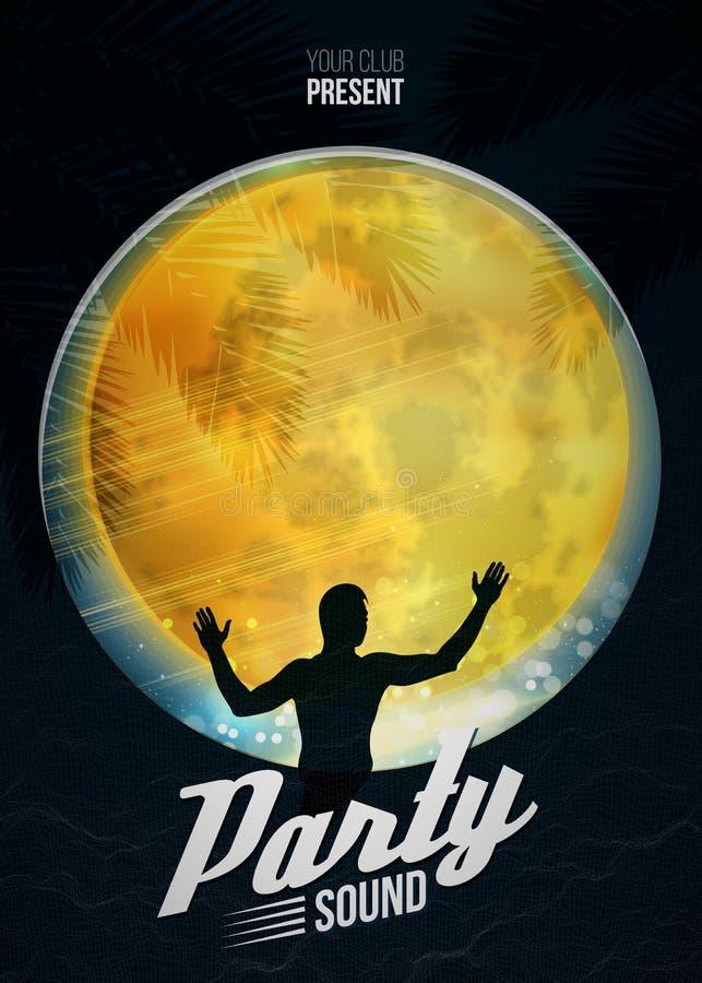 Vaya de fiesta la plantilla del fondo del vector del cartel de la danza con la luna y la silueta de DJ ilustración del vector
