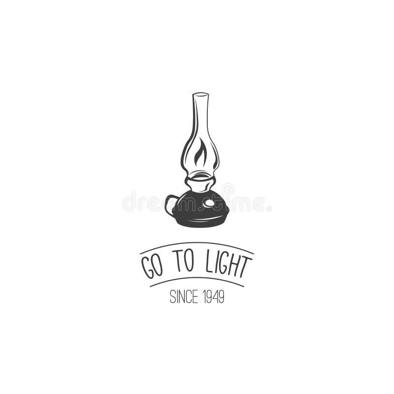 Vaya a encenderse Lámpara de keroseno retra Lámpara de la parafina del vintage Doodle el estilo Aislado en blanco ilustración del vector