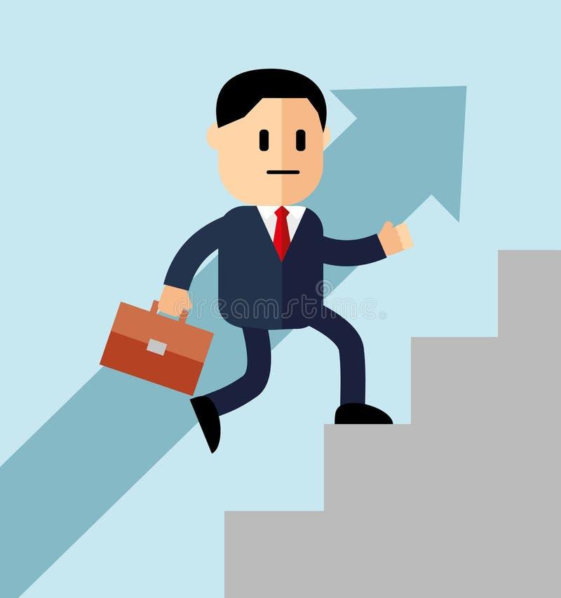 Vaya encima del concepto, escalera de la carrera, hombre de negocios con la maleta que sube las escaleras del éxito Concepto para stock de ilustración