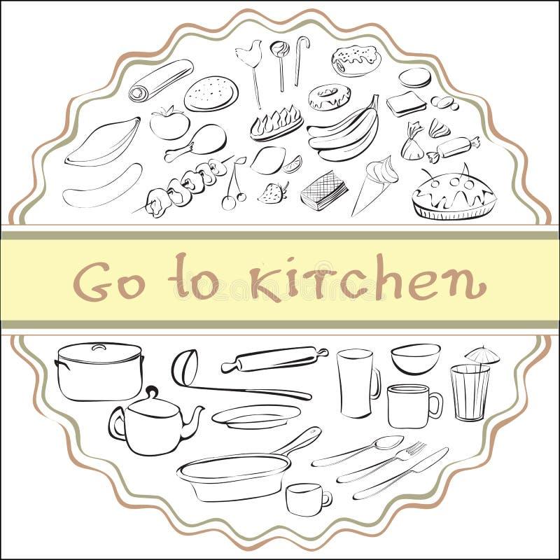 Vaya a la cocina stock de ilustración