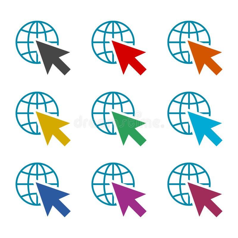 Vaya a la muestra de la web, al icono o al logotipo, sistema de Internet de color libre illustration