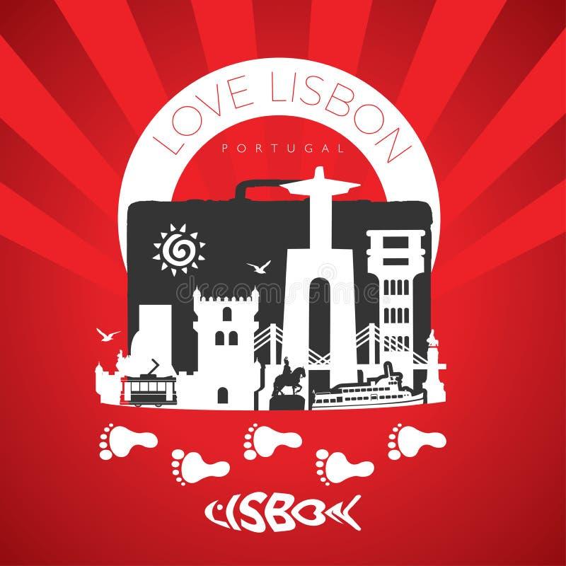Vaya a Lisboa Monumentos del viaje de Lisboa del viaje en Lisboa Deja para ir stock de ilustración