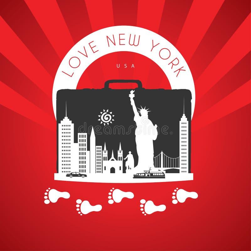 Vaya a Nueva York los Estados Unidos de América Monumentos del viaje de Nueva York del viaje en Nueva York Deja para ir ilustración del vector