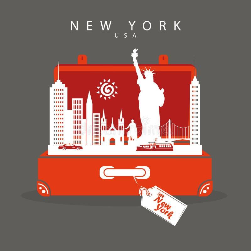 Vaya a Nueva York Monumentos del viaje de Nueva York de la maleta en Nueva York Deja para ir libre illustration