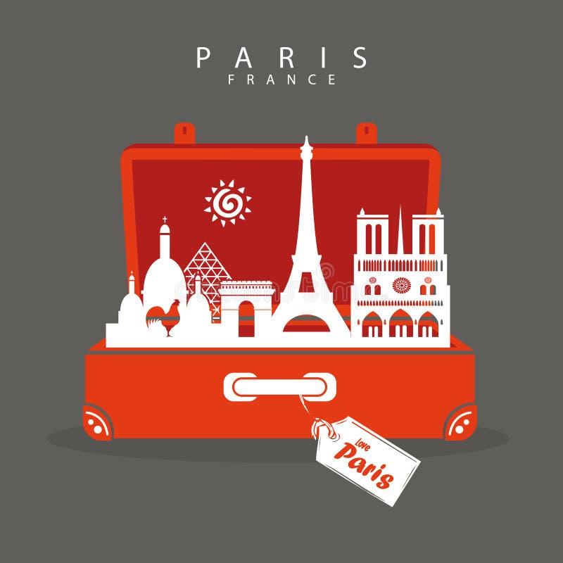 Vaya a París Monumentos del viaje de París de la maleta en París Deja para ir stock de ilustración