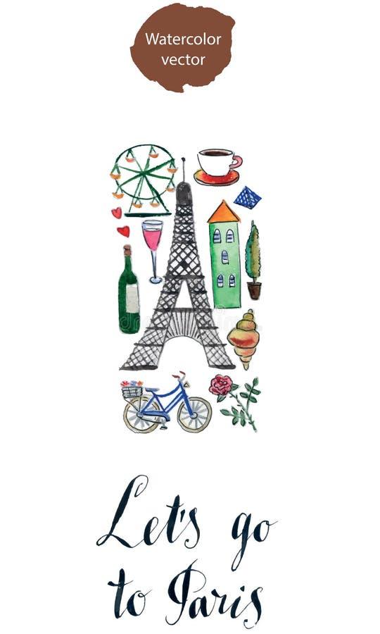 Vayamos a París ilustración del vector