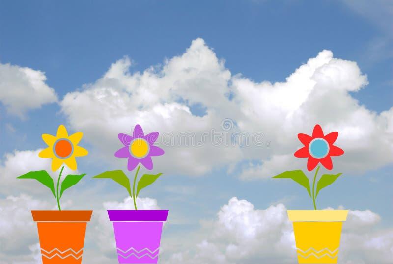 Vazen van bloemen royalty-vrije illustratie