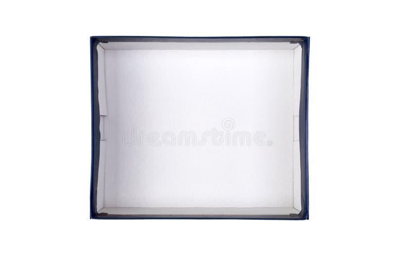 Vazio abriu a caixa de cartão branca para a zombaria isolada acima no fundo branco com espaço da cópia foto de stock