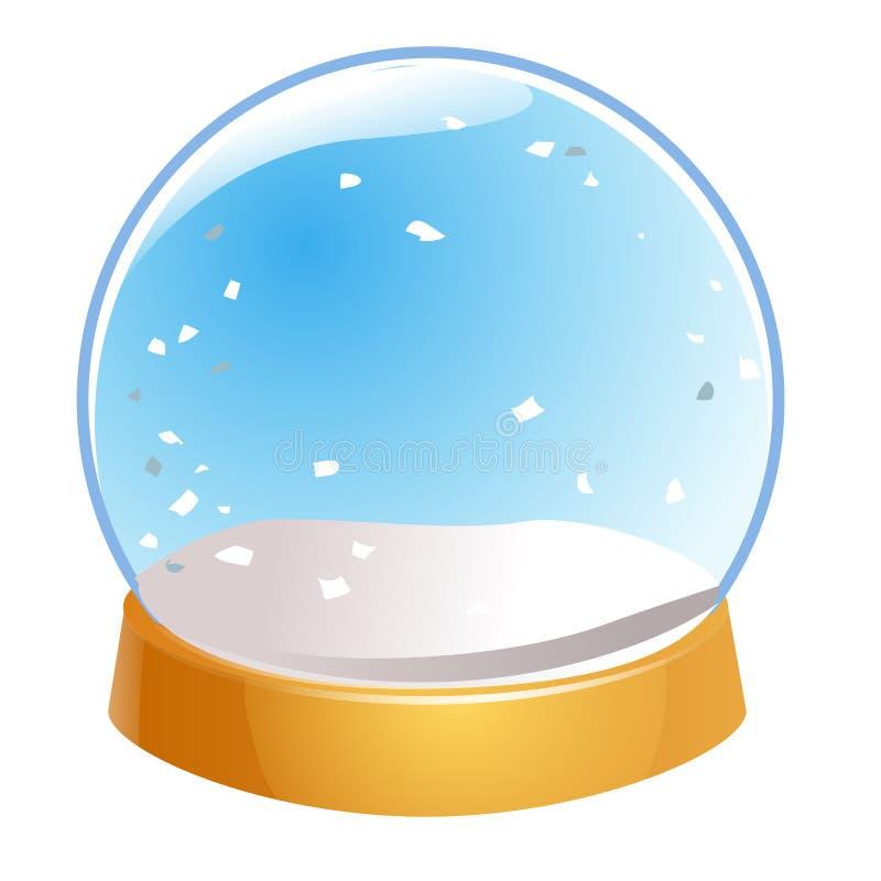 Vazio do globo da neve isolado no fundo branco Bola da mágica do Natal Ilustração de Snowglobe inverno na bola de vidro, cristal ilustração do vetor