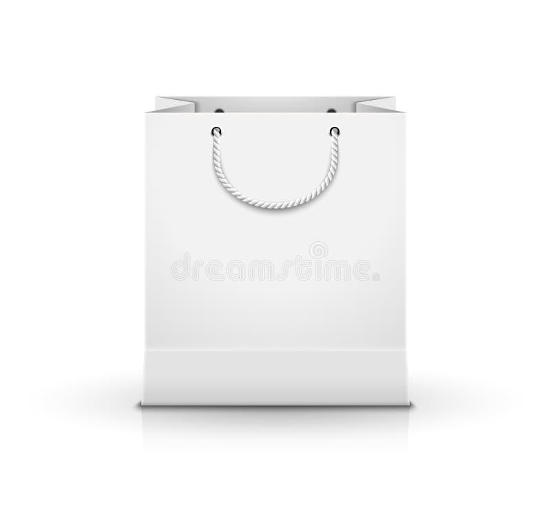 Vazio do saco de papel da compra isolado no branco Pacote varejo do cartão do projeto do saco de compras para anunciar ilustração stock