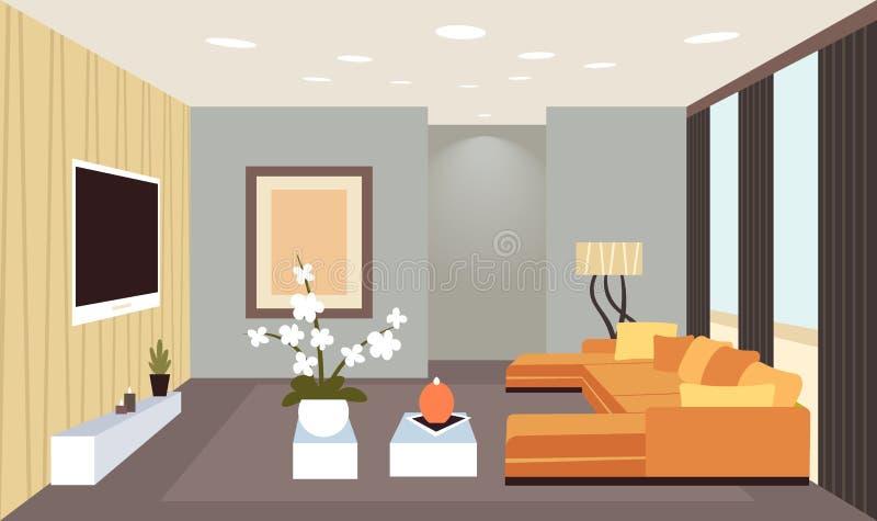 Vazio interior da sala de visitas contemporânea nenhum projeto moderno do apartamento da casa dos povos horizontalmente horizonta ilustração stock