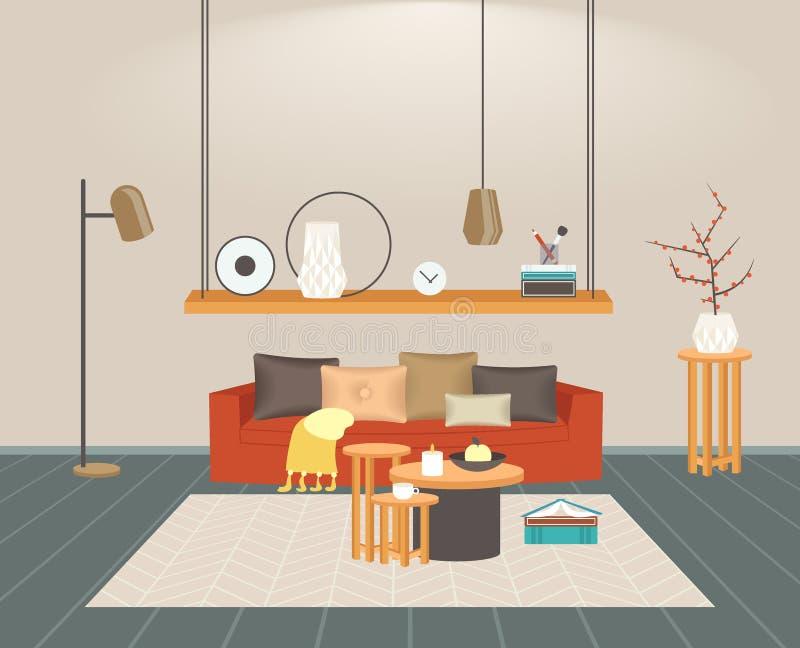 Vazio interior da sala de visitas contempor?nea nenhum projeto moderno do apartamento da casa dos povos horizontalmente horizonta ilustração stock