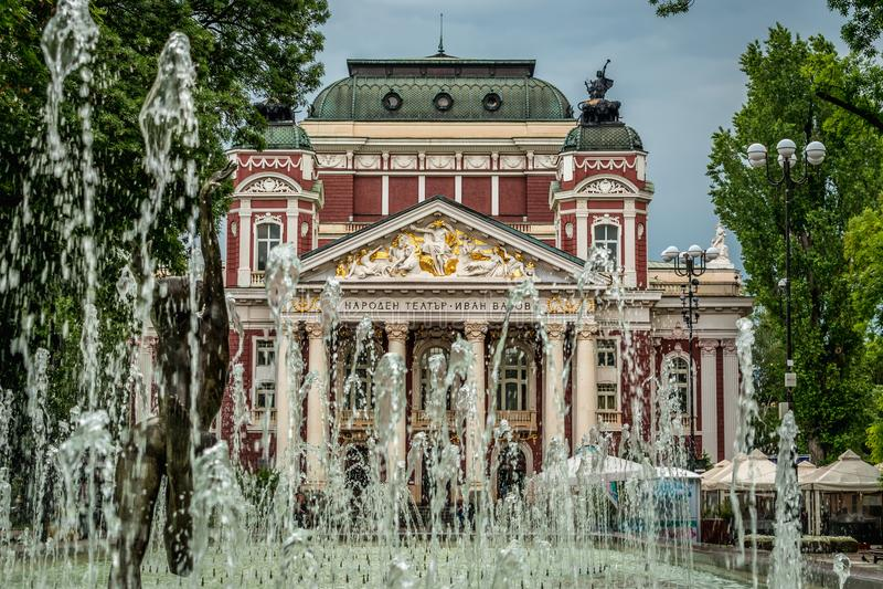 Ivan Vazov Theatre, Sofia, Bulgaria. The Vazov National Theatre is Bulgaria`s national theatre, as well as the oldest and most authoritative theatre in the stock photos