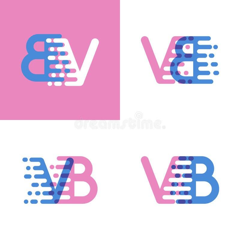 VB marque avec des lettres le logo avec le rose et doucement le bleu de vitesse d'accent doucement illustration stock