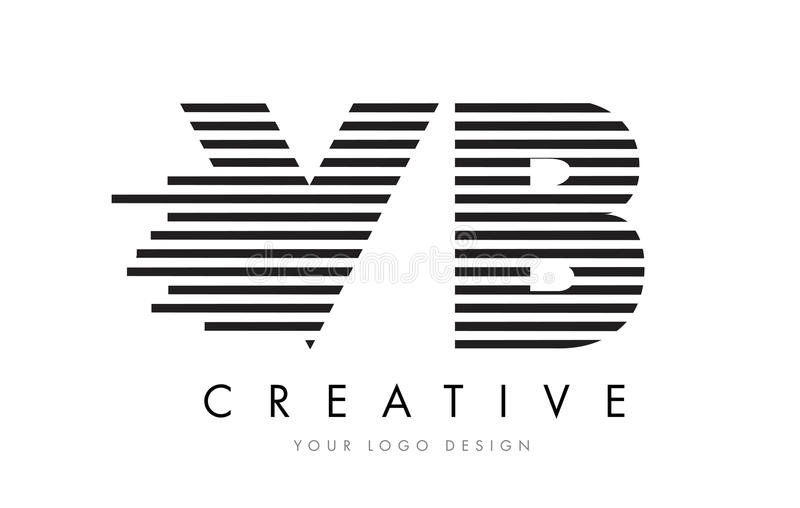 VB V B Zebra Letter Logo Design with Black and White Stripes royalty free illustration