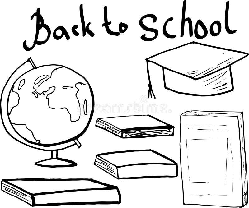 Vback ao cartaz da escola com livros, cadernos e um globo ilustração do vetor da garatuja para etiquetas e cartões fotografia de stock