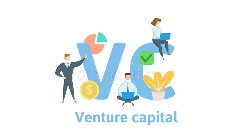 VC, capital de riesgo  Concepto con palabras claves, letras e iconos Ejemplo plano del vector Aislado en el fondo blanco stock de ilustración