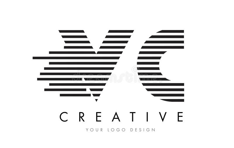 VC de Gestreepte Brief Logo Design van V C met Zwart-witte Strepen royalty-vrije illustratie