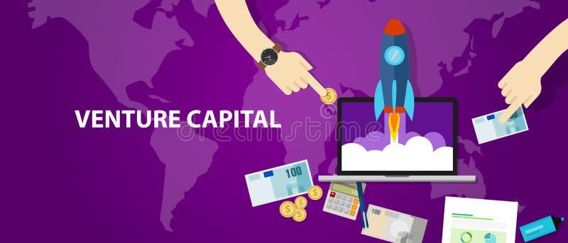 VC investitore startup dei contanti dei soldi del lancio del razzo di finanziamento dei capitali di rischio illustrazione di stock