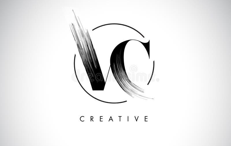 VC letra Logo Design do curso da escova Pintura preta Logo Letters Icon ilustração stock