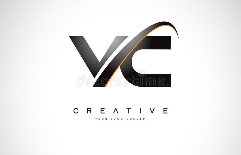 VC V C Swoosh Letter Logo Design with Modern Yellow Swoosh Curve royalty free illustration
