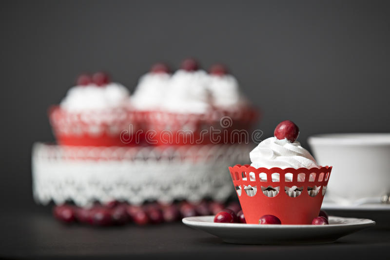 Vcappuccino and muffin with cream and cranberries royalty free stock image